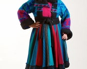 ON SALE Upcycled Sweater Coat, Jewel Toned, Recycled Sweater Coat, Size Large 12 to 14,
