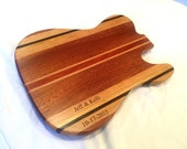 Wood Guitar Shaped Cutting Board - Telecaster Style - Lacewood & Bloodwood - FREE ENGRAVING,  Wood Gift