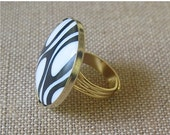 ON SALE Black Ring, Black and White Ring,Retro Ring