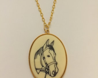 Vintage Horse Cameo Necklace