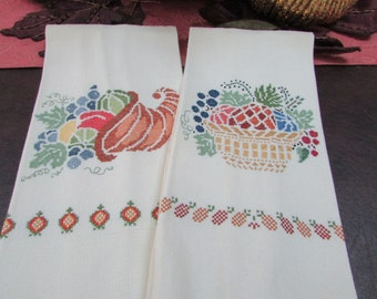 VINTAGE - Autumn-themed Cross Stitched Tea Towels