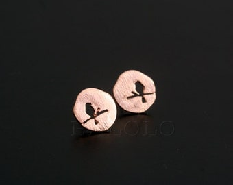 Bird Rose Gold Stud Earring Post Finding (ET035C)