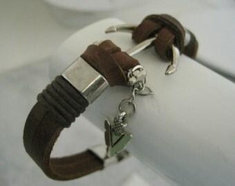 Leather Bracelet Women's Men Nautical Salior's Knot  Brown Leather Unisex Cuff