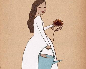 CHRISTMAS SALE Gardner girl art Mate Edition Print  of original illustration