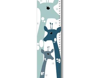 Growth Chart, Giraffe  Growth Chart, Blue Giraffe Growth Chart, Custom Growth Chart, Custom Blue Growth Chart, Canvas Growth Chart