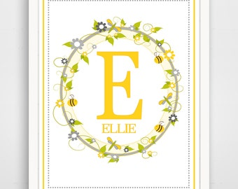 Personalized Children's Wall Art / Nursery Yellow Custom Name in Floral Wreath with Dragonflies print by Finny and Zook