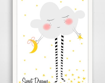 Sweet Dreams Cloud with Striped Legs and Stars - Can be Personalized
