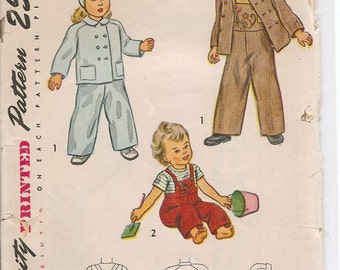 Simplicity 2561 Toddler Jacket Cap Overalls Pattern Size 2