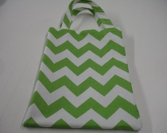 Green Chevron and Dots Tote Bag READY TO SHIP On Sale