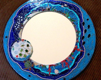 Mosaic Mirror Sea life with hatching turtles fish and coral