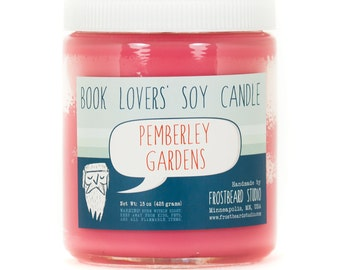 Pemberley Gardens - Book Candle -  Book Lover Gift - Scented Soy Candle - Frostbeard Studio - 8oz jar