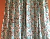 "Pair of 40"" x 101"" long Back Tab Robins Egg Mod Flower Drapes - Lined"