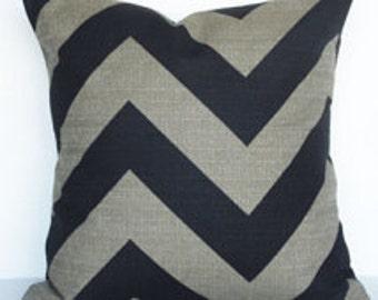 Black and Denton Beige Large Chevron Pillow Cober
