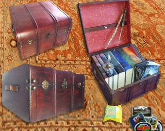 Wizard's Book and DVD Trunk - all wood and brass