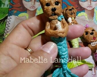 Mermaid Yorkie Glow in the dark Handmade Necklace Mini sculpture Ornament Necklace Meryorkie