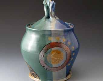 Handmade Ceramic Covered Jar, Blue and Green, Cookie Jar, Canister, Lidded Jar, Covered Pot, Container, Fine Art Ceramics