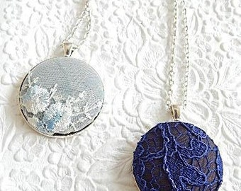 Lace necklace, blue necklace,  floral necklace, lace pendant, womens accessory, fashion jewelry, bridal necklace
