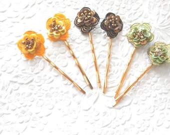 2  beaded hairpins, sequinned hair-pins, bobby-pins, available in 3 colors, hair accessory, womens accessory
