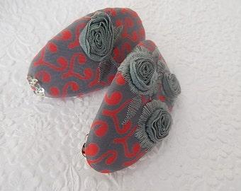 Turquoise red barrette, embroidered barrette, oval barrette,  fabric barrette, hair accessory, fashion accessory