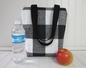 Lunch Bag - Lunch Tote - Insulated Lunch Tote - Mini Tote - Buffalo Plaid - Plaid Tote Bag - Teacher Gift