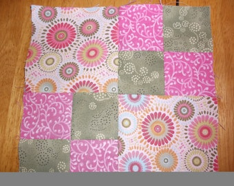 16 Quilt blocks  Pink and Green