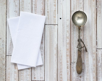 WHITE Seersucker Cloth Napkins by Dot and Army, set of four cloth napkins