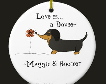 Doxie ornament ceramic personalized dog lover dachshund ornament custom personalized Christmas ornaments dog lover gift