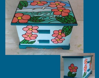 Ocean Breeze Jewelry Box, Hand Painted Jewelry Box, Jewelry Organizer, Jewelry Holder, Mirror Box, Hand Painted Jewelry Box, Wood Box