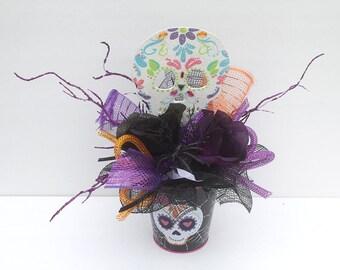 Sugar Skull, Sugar skull Halloween Arrangement, Home decor, halloween decoration, day of the dead, party decorations