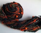 Handspun Halloween Art Yarn - PUMPKIN GLORY - Dark, Orange, Green, Beads, Pumpkins, Gold Thread. Coils, Texture. Autumn. 98 yds, 3.8 oz