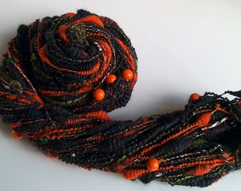 Handspun Halloween Art Yarn - PUMPKIN GLORY - Dark, Orange, Green, Beads, Pumpkins, Gold Thread. Coils, Texture. Autumn. 98 yds, 3.8 oz