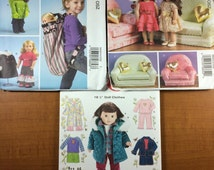 McCalls 6853 6854 Simplicity 5733 Lot of 3 Sewing Patterns American Girls 18 Inch Dolls Couch pouch dress pillow robe coat