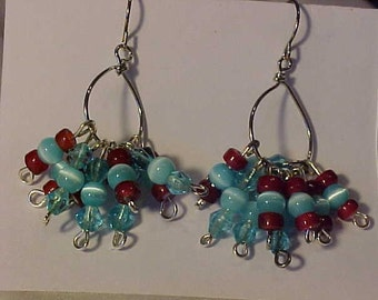 Dangle EARRINGS~~GLASS Beads in Blue and Red~~Beads on Wire Hoops~~STYLISH~~Fashionable~~Silver Tone Findings and Wire~~For any Occasion
