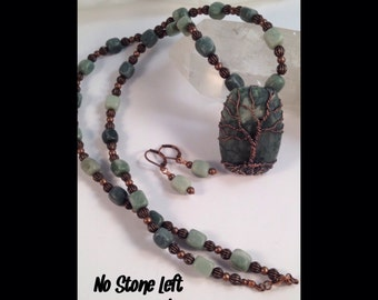 Special! Green Marble Tree Of Life beaded necklace and rings set