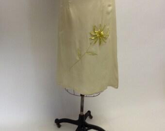 Simple Handmade Chiffon Midi Skirt with ribbon applique