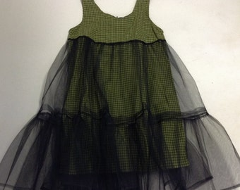Dark Fairy Olive Plaid Cotton Empire dress with tattered tulle overskirt L