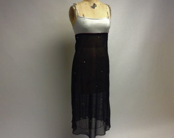SALE Handmade Sheer Embellished Black Slip dress Tunic with crochet straps on Knit bodice XL