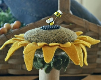 Sunflower Wool & Spool Pincushion