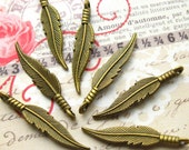 Bronze Feather Charms - Set of 10 - 31mm Antique Bronze Feather Charm (BC0032)