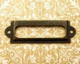 Antique Bronze Finish Label Holders- Set of 5 with Screws - Card Holders, Metal Label Frames (LH0023)