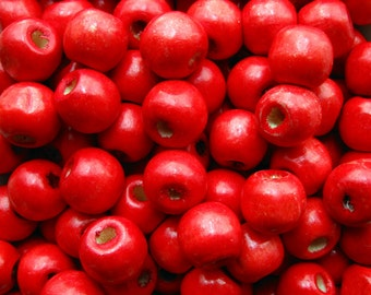 "12mm Red Wooden Beads - Over 100 - 1/2"" Glossy Cherry Red Wood Beads Round, Lead Free (WBD0077)"