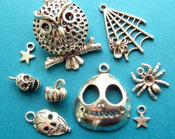 Halloween Charm Assortment - Set of 9 - Antique Silver Finish Metal Charms (SC0087)