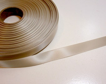 Beige Ribbon. Oyster Satin Ribbon 5/8 inch wide x 4 yards, Single-Faced Beige Ribbon, 50% Off Sale