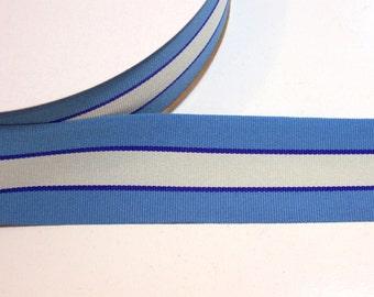 Blue Ribbon, Light Blue, Cream, and Navy Stripe Grosgrain Ribbon 1 1/2 inches wide x 50 yards, Striped Grosgrain Ribbon, Full Bolt