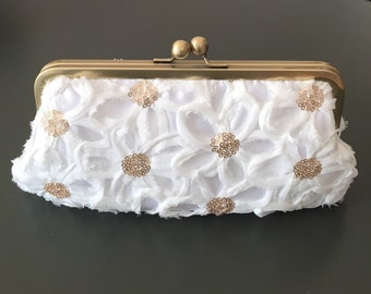 SALE - White Flower Sequin Clutch
