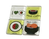 """60% OFF CLEARANCE Sushi Japanese Cuisine - Set of 4 Glass Tile Magnets 3/4"""" square"""