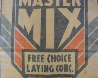 Vintage Feed Sack | Old Feed Sack | Primitive Feed Sack | Master Mix Feed Sack