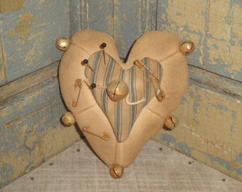 Handmade Vintage Fabric Double Heart Pin Keep