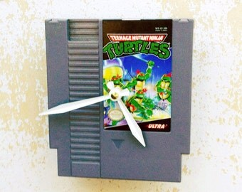 Clock, Nintendo Video Game Cartridge Clock, Teenage Mutant Ninja Turtles Game, Wall Clock, Home Decor, Geekery, Video Game