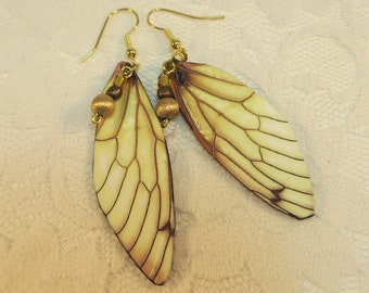 Wing Earrings Lightweight Cicada in Brown